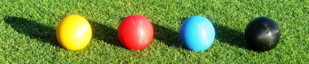 Picture of croquet balls in a row