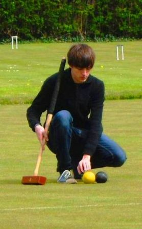 Lining up a croquet shot